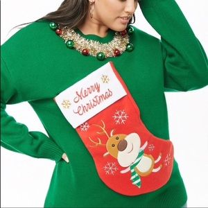 Ugly Sweater Stocking Christmas Green M